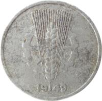 obverse of 5 Pfennig (1948 - 1950) coin with KM# 2 from Germany. Inscription: 1948