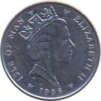 obverse of 5 Pence - Elizabeth II - Quincentenary of the College Arms - 3'rd Portrait (1985 - 1987) coin with KM# 145 from Isle of Man. Inscription: ISLE OF MAN ELIZABETH II 1986