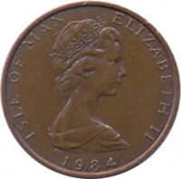 obverse of 1 Penny - Elizabeth II - College of Arms - 2'nd Portrait (1984) coin with KM# 112 from Isle of Man. Inscription: ISLE OF MAN ELIZABETH II 1984