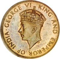obverse of 1/2 Penny - George VI (1937) coin with KM# 28 from Jamaica. Inscription: GEORGE VI KING AND EMPEROR OF INDIA