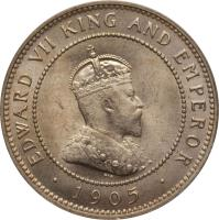 obverse of 1/2 Penny - Edward VII (1904 - 1910) coin with KM# 22 from Jamaica. Inscription: EDWARD VII KING AND EMPEROR · 1907 ·