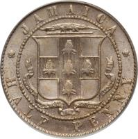 reverse of 1/2 Penny - Edward VII (1904 - 1910) coin with KM# 22 from Jamaica. Inscription: JAMAICA HALF PENNY