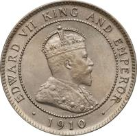 obverse of 1 Penny - Edward VII (1904 - 1910) coin with KM# 23 from Jamaica. Inscription: EDWARD VII KING AND EMPEROR · 1910 ·