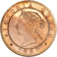 obverse of 1 Penny - Victoria (1869 - 1900) coin with KM# 17 from Jamaica. Inscription: VICTORIA QUEEN 1869