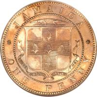 reverse of 1 Penny - Victoria (1869 - 1900) coin with KM# 17 from Jamaica. Inscription: JAMAICA ONE PENNY INDUS UTERQUE SERVIET UNI
