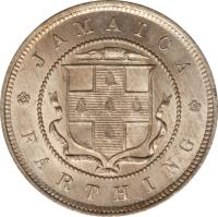 reverse of 1 Farthing - Victoria (1880 - 1900) coin with KM# 15 from Jamaica. Inscription: JAMAICA FARTHING
