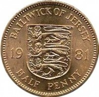 reverse of 1/2 Penny - Elizabeth II - 2'nd Portrait (1981) coin with KM# 45 from Jersey. Inscription: BAILIWICK OF JERSEY 19 81 HALF PENNY
