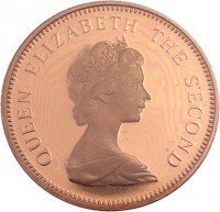 obverse of 1 Penny - Elizabeth II - 2'nd Portrait (1981) coin with KM# 46 from Jersey. Inscription: QUEEN ELIZABETH THE SECOND