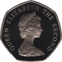 obverse of 50 Pence - Elizabeth II - 2'nd Portrait (1981) coin with KM# 50 from Jersey. Inscription: QUEEN ELIZABETH THE SECOND