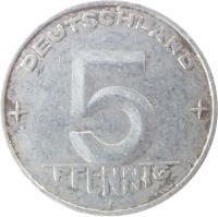 reverse of 5 Pfennig (1952 - 1953) coin with KM# 6 from Germany. Inscription: DEUTSCHLAND 5 PFENNIG E