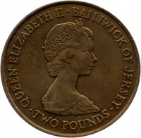 obverse of 2 Pounds - Elizabeth II - Royal Wedding (1981) coin with KM# 52 from Jersey. Inscription: QUEEN ELIZABETH II · BAILIWICK OF JERSEY · TWO POUNDS ·
