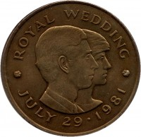 reverse of 2 Pounds - Elizabeth II - Royal Wedding (1981) coin with KM# 52 from Jersey. Inscription: · ROYAL WEDDING · JULY 29 · 1981