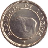 obverse of 1/2 Cent (1941) coin with KM# 10a from Liberia. Inscription: REPUBLIC OF LIBERIA *
