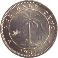 reverse of 1/2 Cent (1941) coin with KM# 10a from Liberia. Inscription: ONE HALF CENT *1941*