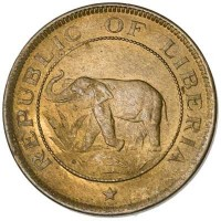 obverse of 1 Cent (1937) coin with KM# 11 from Liberia. Inscription: REPUBLIC OF LIBERIA