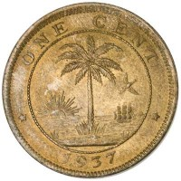 reverse of 1 Cent (1937) coin with KM# 11 from Liberia. Inscription: ONE CENT 1937
