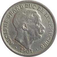 obverse of 10 Centimes - Adolphe (1901) coin with KM# 25 from Luxembourg. Inscription: ADOLPHE GRAND-DUC DE LUXEMBOURG · 1901 · A. MICHAUX