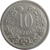 reverse of 10 Centimes - Adolphe (1901) coin with KM# 25 from Luxembourg. Inscription: 10 CENTIMES