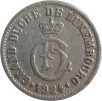 obverse of 5 Centimes - Charlotte (1924) coin with KM# 33 from Luxembourg. Inscription: GRAND DUCHE DE LUXEMBOURG · 1924 ·