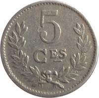 reverse of 5 Centimes - Charlotte (1924) coin with KM# 33 from Luxembourg. Inscription: 5 CES