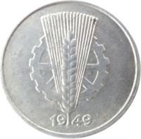 obverse of 10 Pfennig (1948 - 1950) coin with KM# 3 from Germany. Inscription: 1949