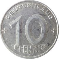 reverse of 10 Pfennig (1948 - 1950) coin with KM# 3 from Germany. Inscription: DEUTSCHLAND 10 PFENNIG A