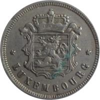 obverse of 25 Centimes - Charlotte (1927) coin with KM# 37 from Luxembourg. Inscription: * LUXEMBOURG *