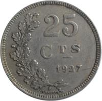reverse of 25 Centimes - Charlotte (1927) coin with KM# 37 from Luxembourg. Inscription: 25 CTS 1927 EVERAERTS