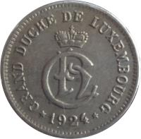 obverse of 10 Centimes - Charlotte (1924) coin with KM# 34 from Luxembourg. Inscription: GRAND DUCHÉ DE LUXEMBOURG · 1924 ·