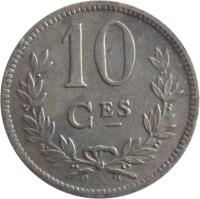 reverse of 10 Centimes - Charlotte (1924) coin with KM# 34 from Luxembourg. Inscription: 10 CES