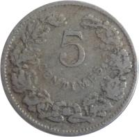 reverse of 5 Centimes - Wilhelm IV (1908) coin with KM# 26 from Luxembourg. Inscription: 5 CENTIMES