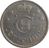 obverse of 1 Franc - Charlotte (1939) coin with KM# 44 from Luxembourg. Inscription: CH LETZEBURG