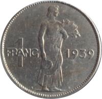 reverse of 1 Franc - Charlotte (1939) coin with KM# 44 from Luxembourg. Inscription: 1 FRANG 1939 A.B.