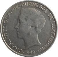 obverse of 5 Francs - Charlotte (1949) coin with KM# 50 from Luxembourg. Inscription: CHARLOTTE GRANDE DUCHESSE DE LUXEMBOURG · 1949 ·