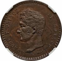 obverse of 5 Centimes - Honoré V - Small head (1837 - 1838) coin with KM# 95.2a from Monaco. Inscription: HONORE V PRINCE DE MONACO
