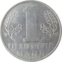 reverse of 1 Mark (1956 - 1963) coin with KM# 13 from Germany. Inscription: A 1 DEUTSCHE MARK 1962
