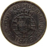 obverse of 10 Centavos (1942) coin with KM# 72 from Mozambique. Inscription: COLONIA DE MOCAMBIQUE · 1942 ·