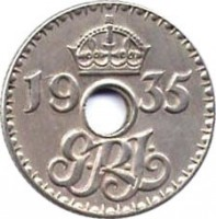 obverse of 6 Pence - George V (1935) coin with KM# 4 from New Guinea. Inscription: 1935