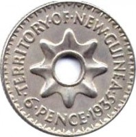 reverse of 6 Pence - George V (1935) coin with KM# 4 from New Guinea. Inscription: TERRITORY · OF · NEW · GUINEA · 6 · PENCE · 1935 ·