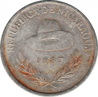 obverse of 500 Córdobas (1987) coin with KM# 63 from Nicaragua. Inscription: REPUBLICA DE NICARAGUA