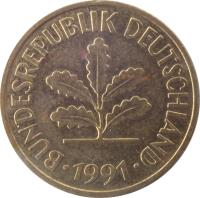 obverse of 5 Pfennig (1950 - 2001) coin with KM# 107 from Germany. Inscription: BUNDESREPUBLIK DEUTSCHLAND 1950