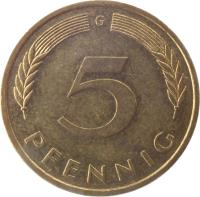reverse of 5 Pfennig (1950 - 2001) coin with KM# 107 from Germany. Inscription: F 5 PFENNIG