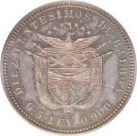 obverse of 10 Centésimos (1904) coin with KM# 3 from Panama. Inscription: DIEZ CENTESIMOS DE BALBOA G.5.LEY 0.900