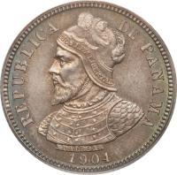reverse of 10 Centésimos (1904) coin with KM# 3 from Panama. Inscription: REPUBLICA DE PANAMA 1904