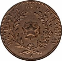 obverse of 4 Centésimos (1870) coin with KM# 4 from Paraguay. Inscription: REPUBLICA DEL PARAGUAY
