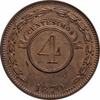 reverse of 4 Centésimos (1870) coin with KM# 4 from Paraguay. Inscription: CENTESIMOS 4 1870 SAEZ