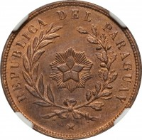 obverse of 1 Centésimo (1870) coin with KM# 2 from Paraguay. Inscription: REPUBLICA DEL PARAGUAY