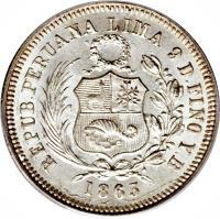 obverse of 1/5 Sol (1863 - 1875) coin with KM# 191 from Peru. Inscription: REPUBLICA PERUANA LIMA 9 D FINO Y.B 1866