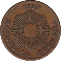obverse of 2 Centavos (1919) coin with KM# A212 from Peru. Inscription: 1919 REPUBLICA PERUANA