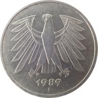 obverse of 5 Deutsche Mark (1975 - 2001) coin with KM# 140.1 from Germany. Inscription: 1987 J